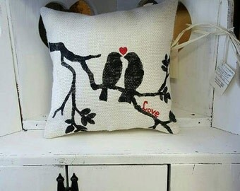 Burlap pillow with lovebirds