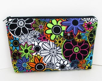 Day of the Dead Flowers, Make up Zipper Pouch, Cosmetic Bag
