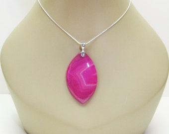 RESERVED for Sabrina Bright Pink Agate pendant Necklace