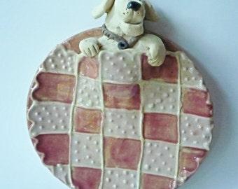 Labador retriever dog  snug in bed plate or tray
