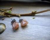 Sun Kissed Peach. Rough Raw Pecos Diamond stud earrings. Stone temples Collections. Titanium posts