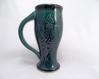 Tribal Crow Design Stein Beer Cup 24 oz., Carved Design Dinnerware Tumbler Home Bar Accessory, Mediterranean Blue, Handcrafted Stoneware