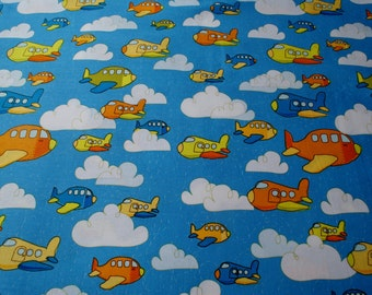 Airplane Fabric,Children's Fabric,Sewing Notions,Crafts and Tools,Quilting Fabric,Sewing Fabric,Blue Fabric,Orange Fabric,White Fabric
