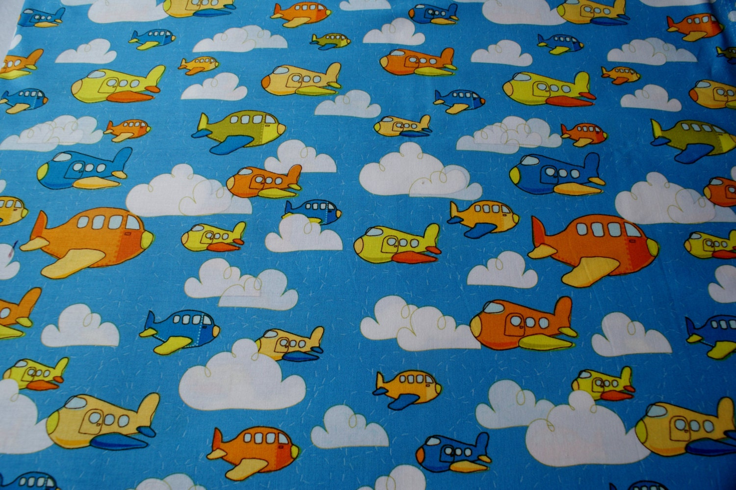 Airplane fabric children 39 s fabric sewing notions crafts for Vintage childrens fabric by the yard