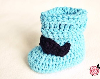 Poppy - Baby Booties Pattern - Crochet Baby Boots - Baby Slippers Pattern - 4 sizes (0-12 months) - With 2 Moustache Patterns!