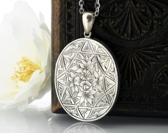 Antique Sterling Silver Locket | Victorian Locket | Hand Chased Flowers | Large Silver Oval Locket Necklace - 34 Inch Long Chain Included