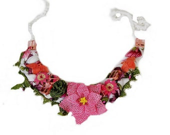 Pink, green and white spring  necklace