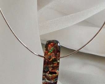 FALL SALE Vintage Fused Dichroic Glass Necklace. Choker. Sterling Silver. Handmade Bead. Green. Purple. Orange. Black.