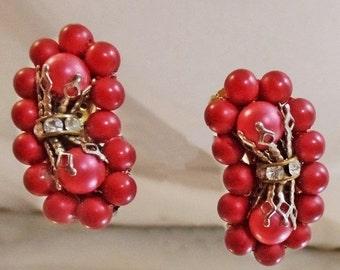 FALL SALE Vintage Red Bead Climber Earrings. Rondelle Rhinestones.  1950s Climber Earrings.