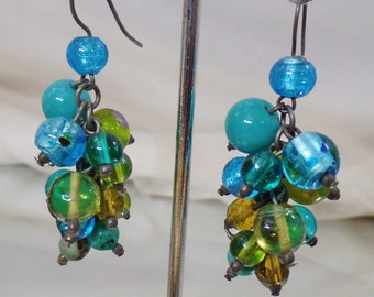Vintage Blue and Green Art Glass Earrings. Dangling Blue Green Art Glass Earrings.