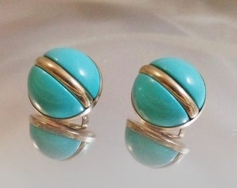 Vintage Turquoise Holiday Earrings.  Sarah Coventry Earrings. 1966.  Atomic. Silver Tone.
