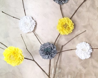 6 pieces Set. White Grey Yellow Large Peonies Artficial Flowers Decor. Wedding Decoration. Baby Shower Centerpiece. Bridal Party Decor