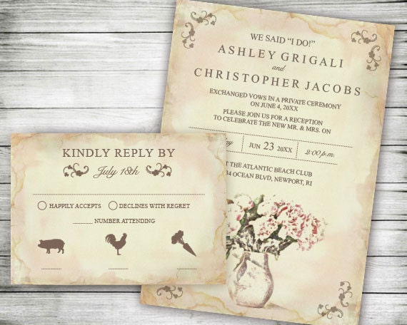 Elopement Wedding Reception Only Invites ~ We Said I Do Invitation,  Announcement Party Invitations, Printable, Pink Flowers, Rustic Floral