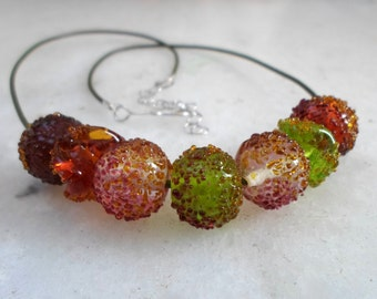 Lampwork Necklace, Handmade Jewelry, Spring Berries Glass Beaded Statement Necklace, Artisan Handmade Glass Jewelry Gift for Her