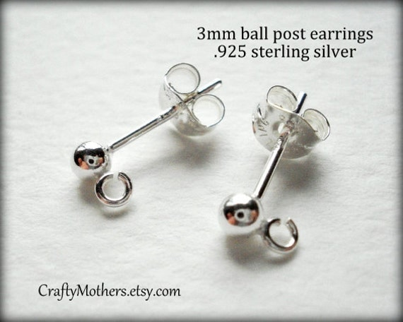 29% SALE! (Code: FROSTY) Last ones in stock, Three (3) PAIRS 3 mm Sterling Ball Post Earrings - (6 pieces)