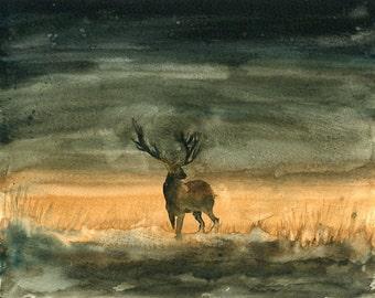 Elk-Original watercolor painting 8x10inch-Landscape- Nature art-home decor