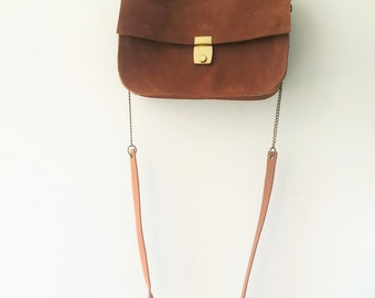 Brown leather handbag ,Cross body bag,Evening bag