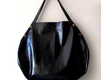 Oversize leather hobo bag - Every day bag - Women bag  - Black leather bag