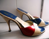 1950s Red, White, & Blue Pinup Burlesque Spring-O-Lator Patriotic Peeptoe Patent Leather High Heels - 5.5, 36, 3.5, 6, 4