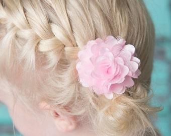 Light Pink Satin clips, Baby Girl Clip, girl hair bow, flower hair accessory, piggy tail hair clip, girl hair accessory, toddler hair clip