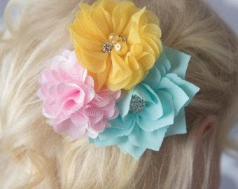 Aqua hair clip, yellow hair clip, light pink hair clip, girl hair accessory, flower hair clip, toddler hair clip, flower girl gift, birthday