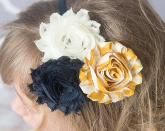 navy headband, mustard headband, hard headband, girl hair accessories, flower girl headband, toddler headband womens headband, girl birthday