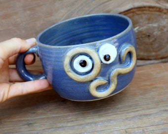 Mens Shaving Cup. Handlebar Mustache Monocle Eyepiece Soup Bowl in Blue. Unique Guys Gift. Fall Chili Bowl. Large Latte Mug with Handle.