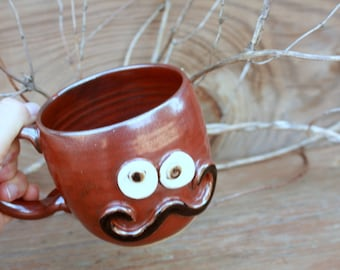 Face Mugs. Ironic Hipster Handlebar Mustache. Autumn Fall Rustic Red Coffee Cup. Soup Mug. Unique Gifts for Him Husband Man Boyfriend.