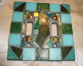 MOSAIC LIGHT SWITCH Plate Cover - Double, Green, Black, Gold, Silver, Teal, Boho, Wall Art