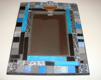 MOSAIC MIRROR, Accent Mirror, Shades of Blue, Gray, Aqus, Black, Sillver