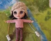 beige Crochet Blythe doll Hat , waldorf doll Hat soft , Infant Hat Baby, Crochet Hat, Baby pink Cap