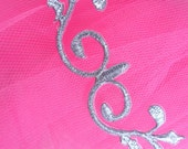 """GB137 Silver Metallic Embroidered Applique Iron On Patch 4.25"""" (GB137-sl)"""