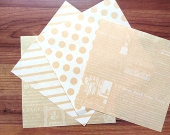 Origami Paper - Chiyogami  Kraft Paper with white prints