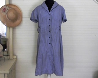 Vintage Dress, Size Large Shirtwaist Dress, Blue Cotton Dress, Handmade Vintage, 1960s Day Dress, Casual Dress Size Large Cotton Shirtwaist