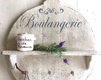French Country Farmhouse Kitchen Shelf with Hooks Boulangerie with Rustic Antique White Finish