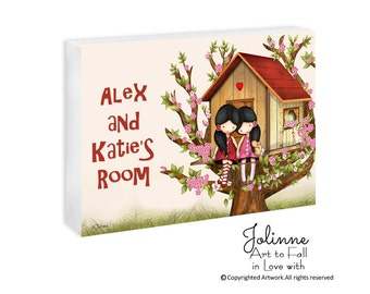 Sisters bedroom sign,personalized name,Custom door sign, sisters bedroom, twins room sign, nursery door hanger, personalized nursery decor