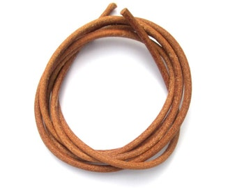Natural leather cord, greek leather cord, 3.5mm round greek leather cord, 1m / 1.09 yard