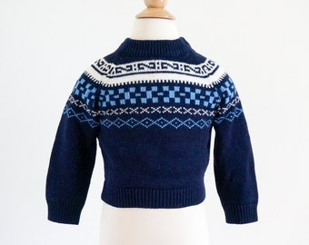 "Vintage 1960s Boys Approx Size 2T Knit Sweater / JcPenney Toddletime Nordic Fair Isle Pullover Sweater / chest 22"" length 11.5"""