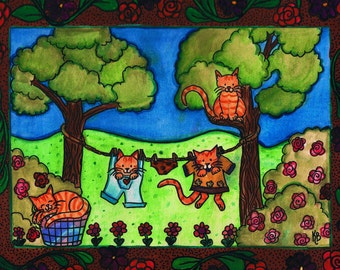 Laundry Day, Original Watercolor painting, Primitive, Folk Art Style, Cat Art