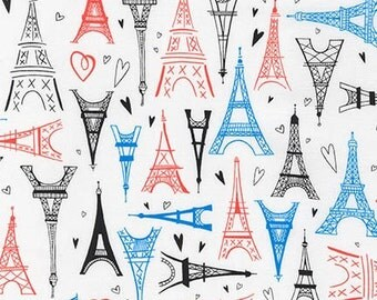 Paris Adventure Kaufman Fabric Multicolored Eiffel Towers and Hearts French Tower on White