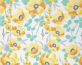 Atrium Fabric by Joel Dewberry Monarch Golden Rod Yellow Floral Flowers on Cream White