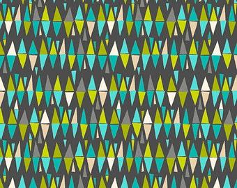 Lime Twist Makower UK Small Geometric Retro Triangle Diamond Fabric Aqua Teal on Dark Gray