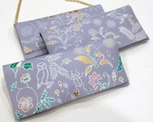 Floral Spring Clutch - Pastel Blue Leather Purse - Spring 2016 Collection Resort Wear