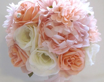"Wedding flowers silk Bridal bouquet 17 piece Package PINK PEACH BLUSH Cream Artificial arrangements bouquets decorations  ""RosesandDreams"""