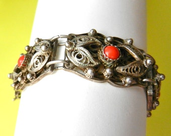 1940s unusual unique 925 sterling filigree Italian bracelet with passionate Mediterranean red coral cabochons- gorgeous treasure-art.379/4 -