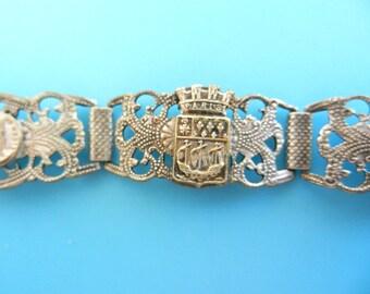 Antique Grand Tour Paris Souvenir 5 ornate links  Bracelet - Lovely souvenir bracelet -- Art.531/4  -