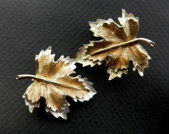 "Vintage Silver and Gold Maple Leaf earrings  by Sarah Coventry ""Natures Choice"" collection - advertised earrings - art.122/3 -"