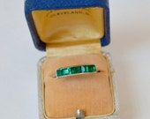 Vintage. Antique. Sterling Channel Set Ring . Emerald Glass Stones . Size 10 . H & S Sterling
