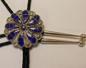 Silver Southwestern Bolo Tie Lapis Lazuli