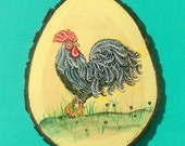 Tropical French ROOSTER Painting on Mahogany by Susana Caban